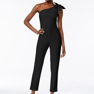 Adrianna Papell One-Shoulder Jumpsuit Black